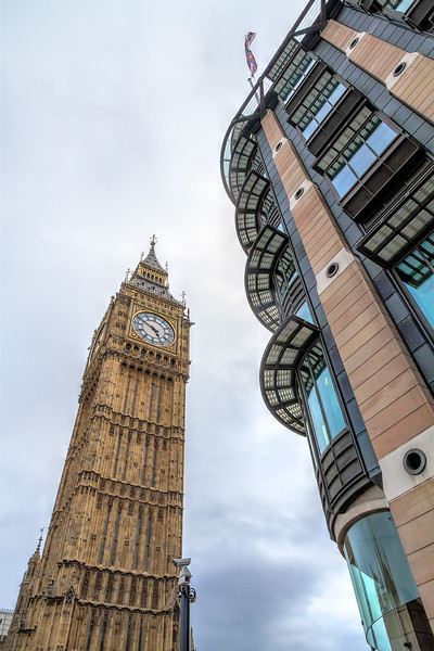 The view of the Elizabeth Tower across from Portcullis House is a contrast of old vs. new. Photo by Tim Stanley Photography.