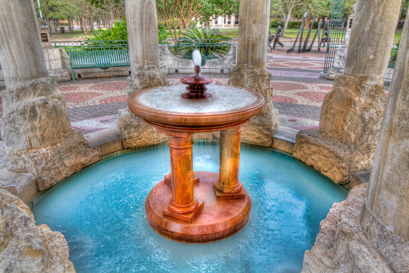 This is the little fountain inside the Cancer Survivors Plaza near Herman Park by downtown Houston, TX. Photo by Tim Stanley Photography.
