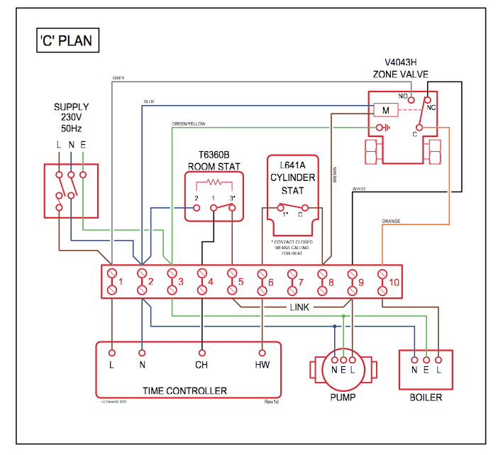 Domestic Central Heating System Wiring Diagrams; C, W, Y