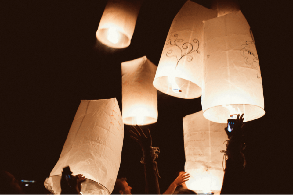 (Sending paper lanterns with well wishes to the universe post-reception.)