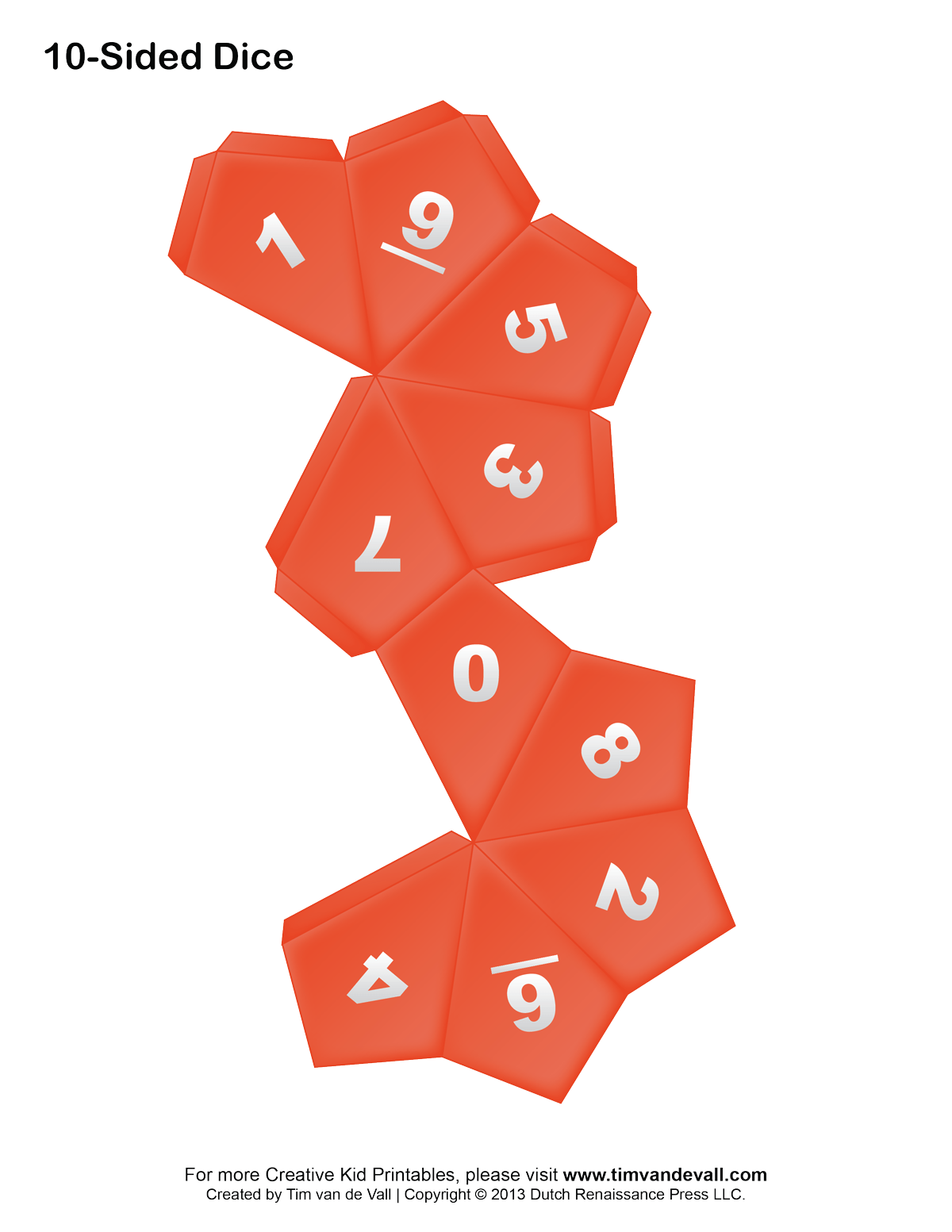 Printable Paper Dice Template Make Your Own 6 10