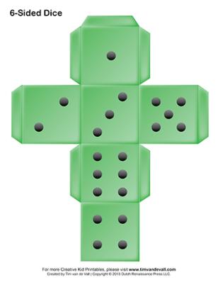printable six-sided dice green