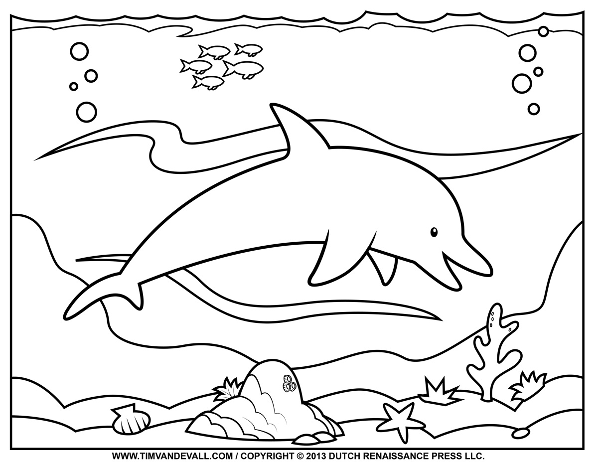 this second dolphin coloring page would make a great warm up exercise