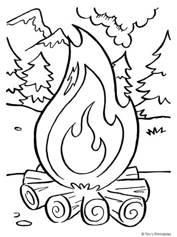 Campfire Coloring Page