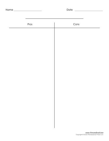 Blank T-Chart