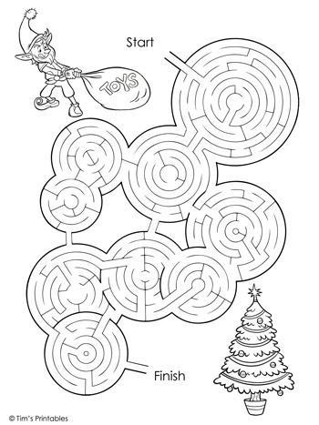 christmas maze black and white
