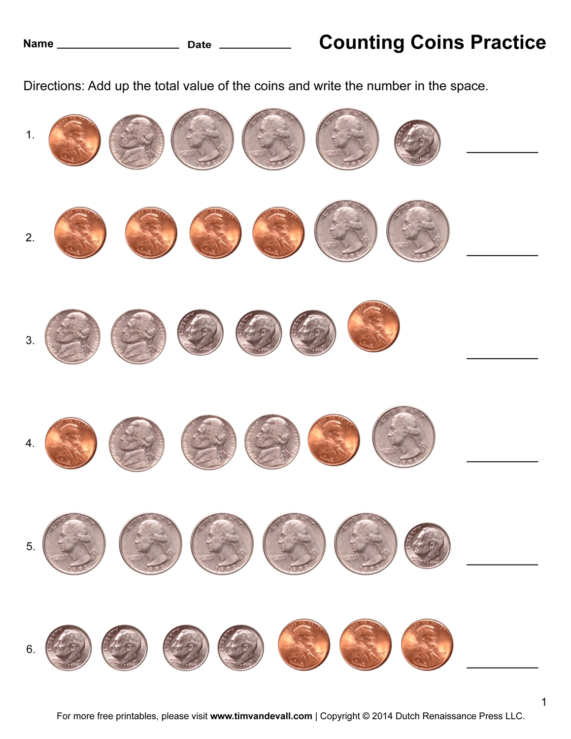 Counting Coins Worksheets Printable First Grade Math