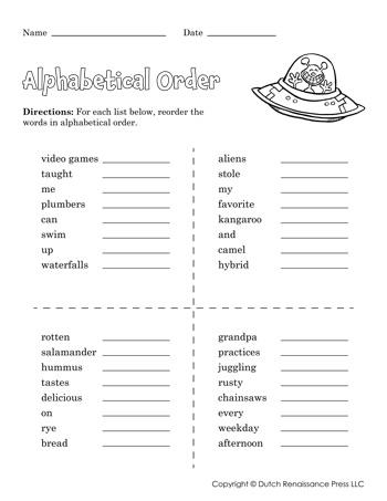 Alphabetical Order Worksheet 01