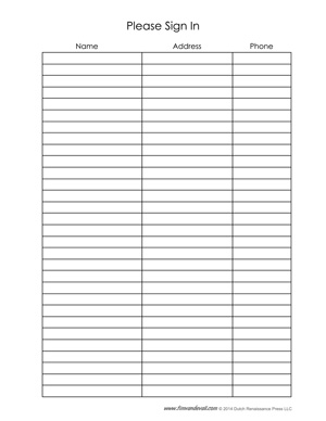 free sign in sheet