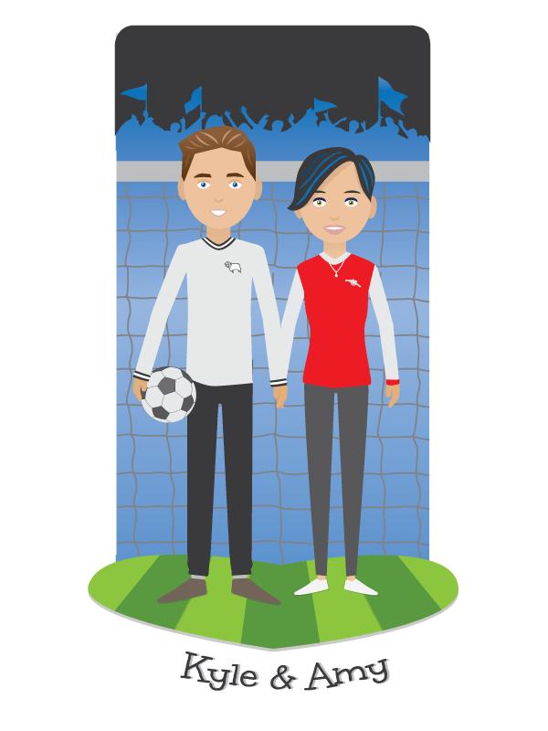 Cartoon Couple Portrait & Background