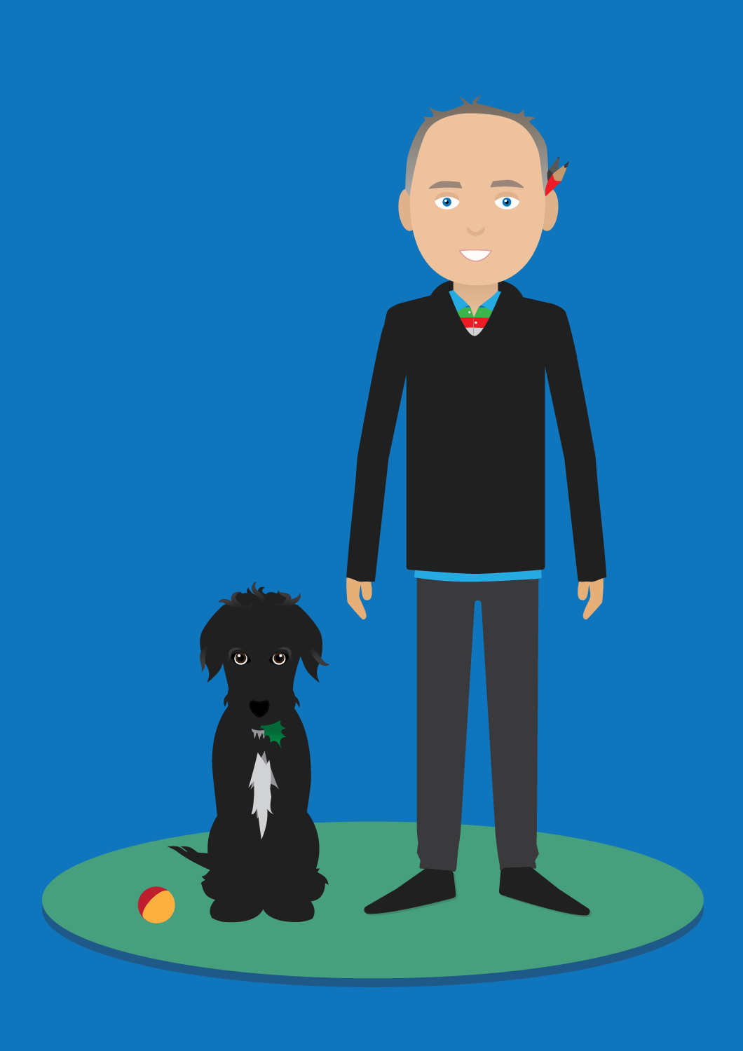 Cartoon Self & Dog