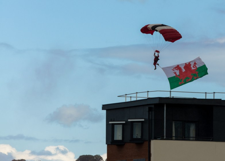 Red Devils Sky-Dive Into Rodney Parade As Part Of The NATO Celebrations In Newport