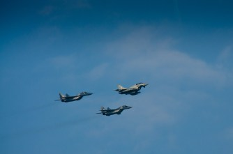 NATO Military Aircraft Fly Over Newport Celtic Manor