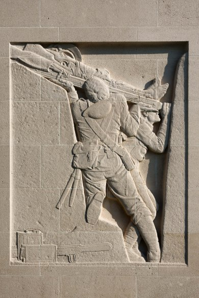 Bas-relief sculpture on the right side of the Cambrai Memorial, Louverval, France.