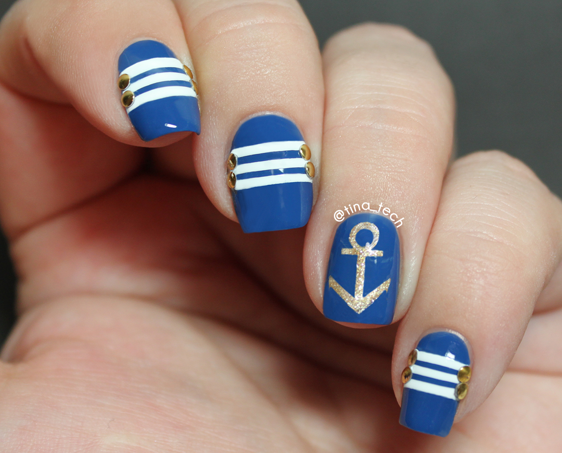 Nail Art I Created After Saw The Design On Lifeisbetterpolished Insram Account M Not Really Pleased With How It Came Out Anchor Is Wonky