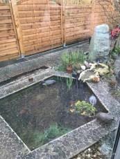 Gartenteich im Hagel
