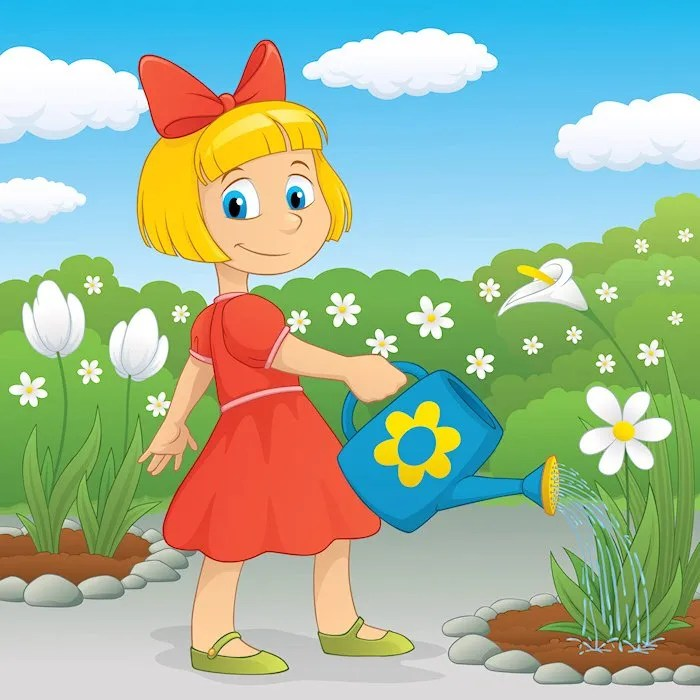 Cartoon - Girl watering garden