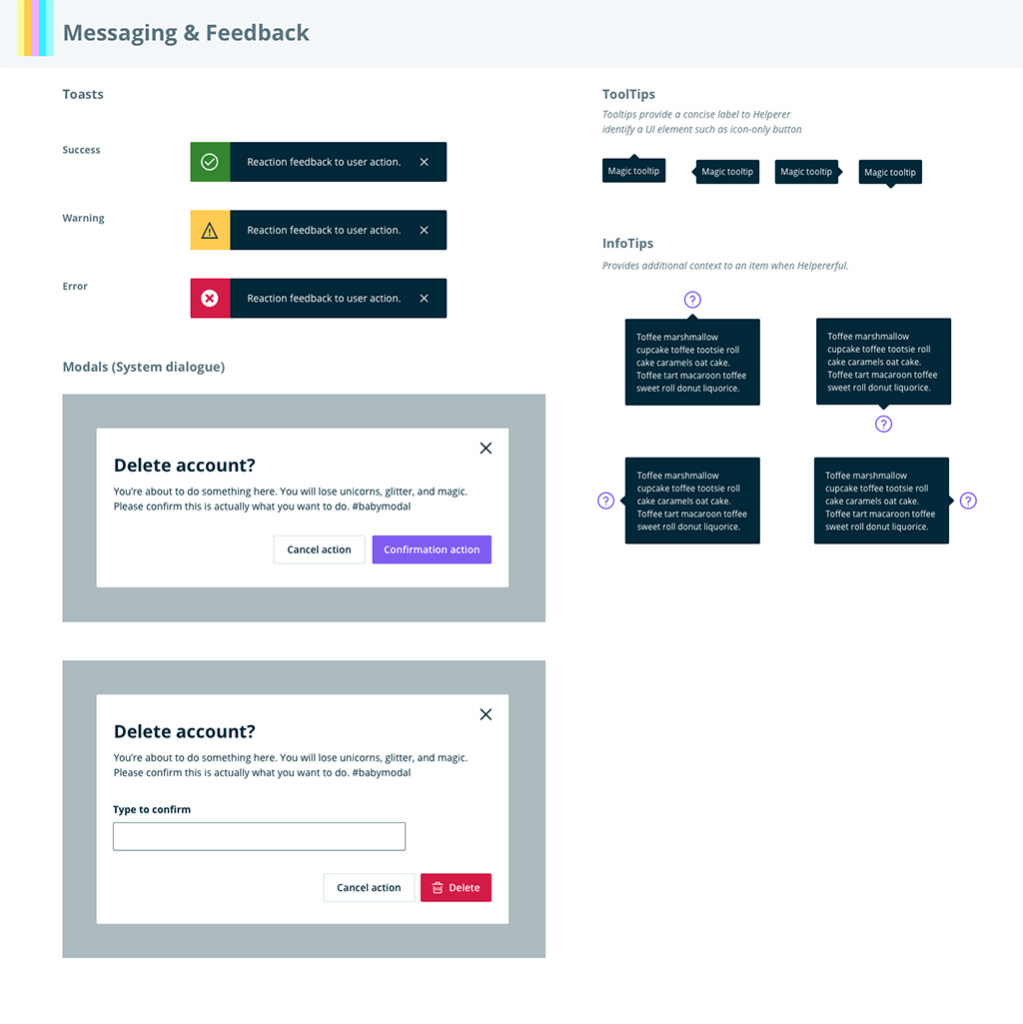 Light mode: Feedback components