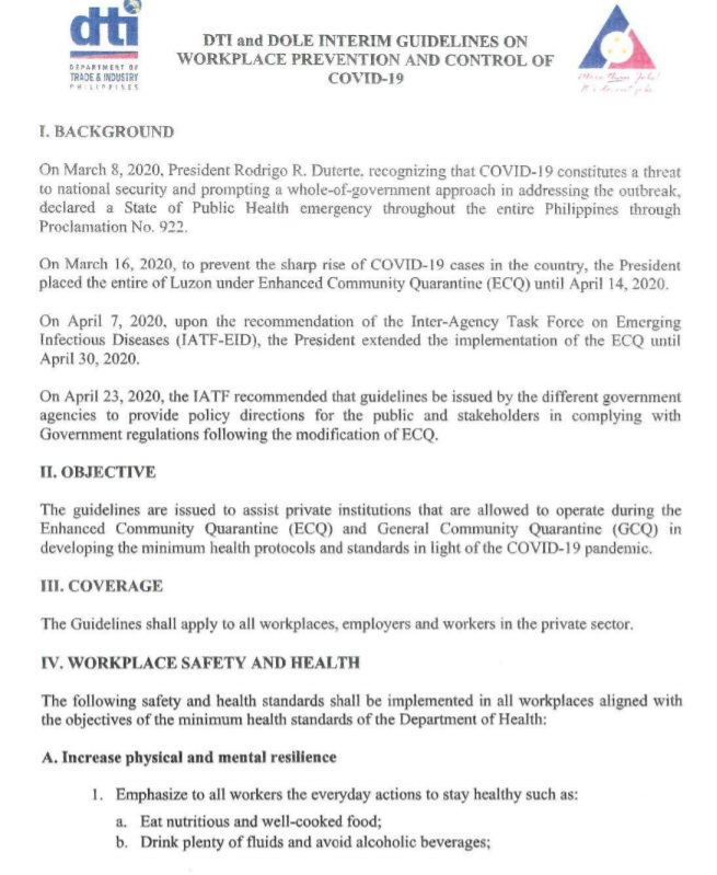 DTI and DOLE Interim Guidelines