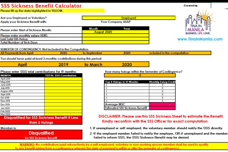 SSS Sickness Calculator
