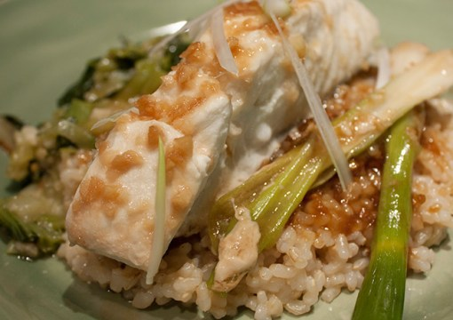 Steamed Halibut with Scallions and Ginger