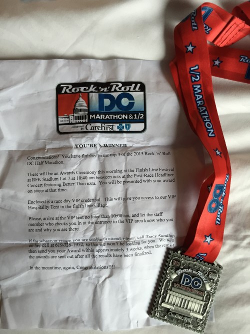 3rd Place at the Rock 'n' Roll DC Half Marathon Race Recap