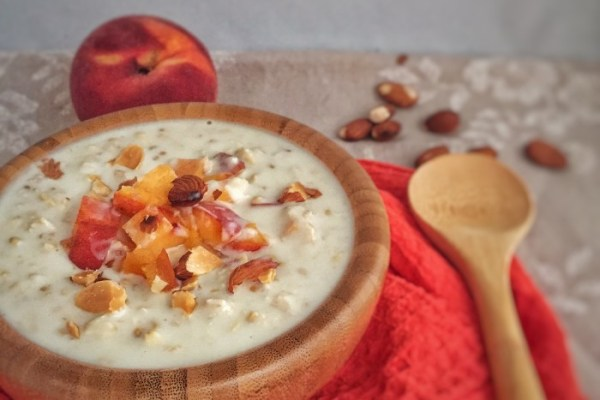 Peach and Almond Overnight Oats is a perfect breakfast to prepare the night before for a busy day. Packed with protein and fiber, this will keep you full all the way to lunch!