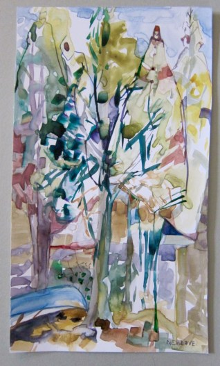 At Home in the Woods, Tina Newlove, Watercolour 2015