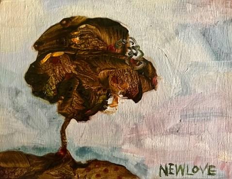Isolated Tree, oil on wood panel, Tina Newlove, 2021