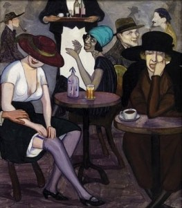 Shalva_Kikodze,_Artists'_coffee-house_in_Paris,_1920