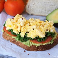Avocado Toast with Eggs, Kale and Tomatoes