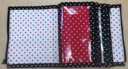 A fabric and vinyl pouch opened up to show see-through pockets.