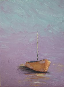 Morning Harbor Sailboat painting