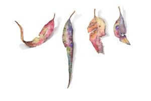 Fallen leaves watercolour painting