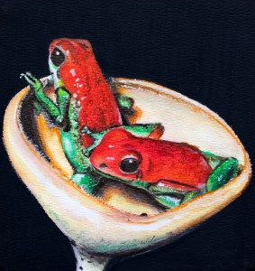 Watercolour painting of two frogs sitting in a toadstool