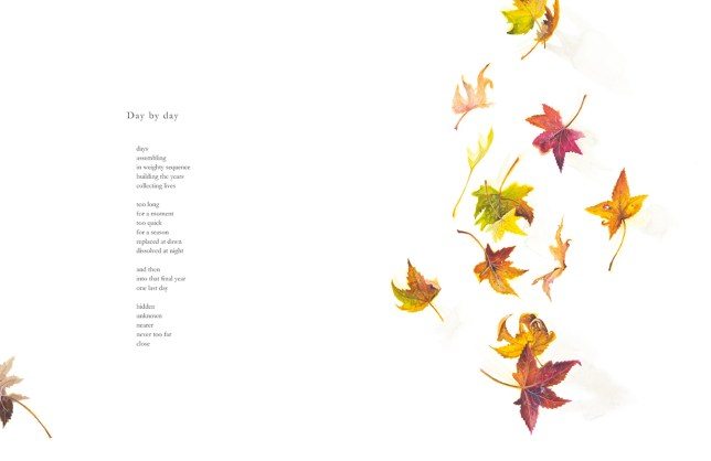 Day by Day, poem by Nicholas Bennett with illustration of falling autumn leaves by Tina Wilson