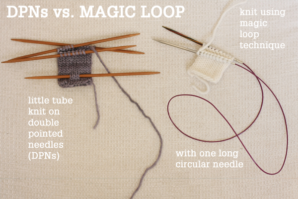 circular needle cords magic loop technique how to knit in the round using a single