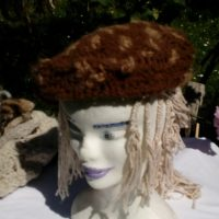 Bonnet alpaga marron et beige naturel, crochet