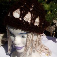 Bonnet alpaga noir ajouré, crochet