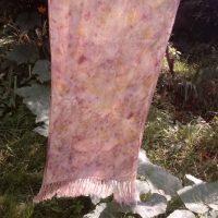 Grande écharpe, soie, écoprint, plantes diverses, lampaya