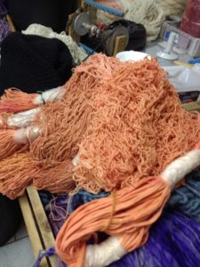 Essai de shibori sur fil de coton