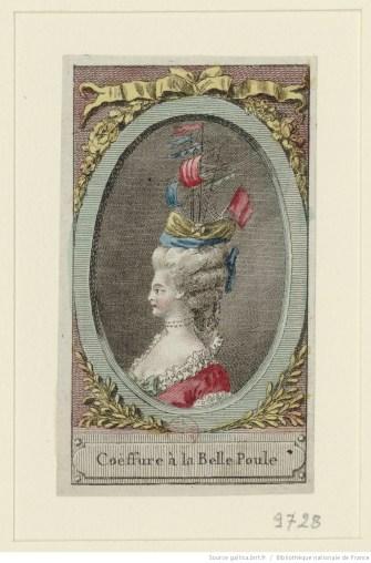 Coiffure à la Belle Poule Référence bibliographique : Hennin, 9728 Engraving View at National Library of France. Via Europeana http://www.europeana.eu