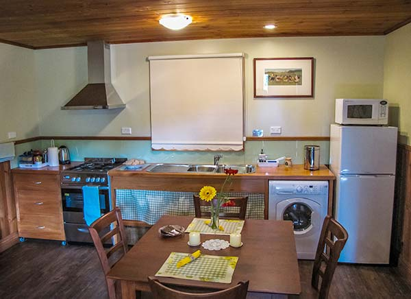 Interior view of the kitchen in Chintock cottage showing the gas stove top, electric oven, upright fridge-freezer, microwave oven and combined clotehs washer-dryer.
