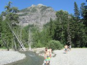 Swimming in the glacial creek.