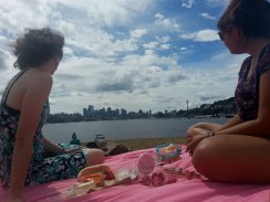 View of the Seattle skyline while picnicing at Gas Works Park.