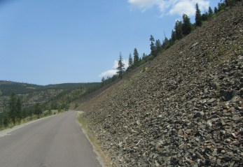 The crazy logging road - straight drop off to the left.