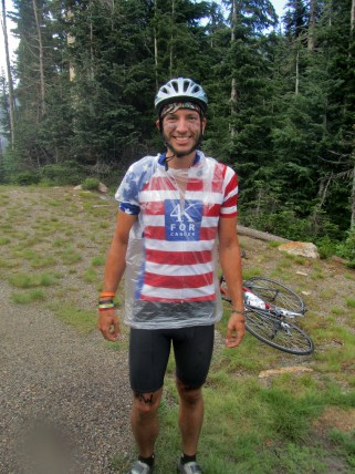 Then it started pouring. The Good News: We had trash bags. The Bad News: It ripped in half going downhill and i was soaked anyway. The GREAT NEWS: With the reduced friction of the rain and the epic downhill, I broke 50MPH!
