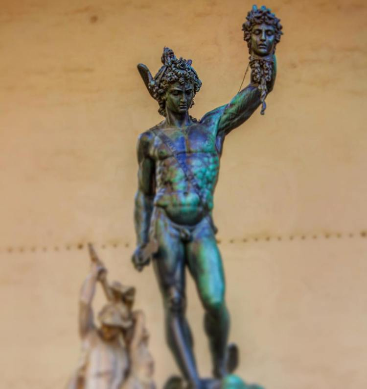Perseus with the Head of Medusa, bronze, by Cellini. Depicting the story of Perseus and Andromeda. Commissioned by Duke Cosimo I de' Medici, Loggia dei Lanzi