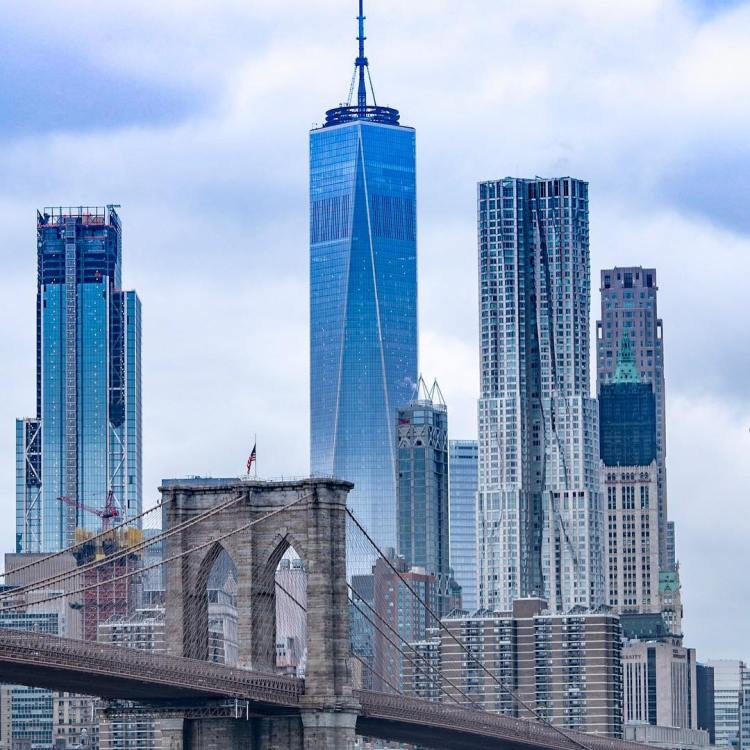View of the Brooklyn Bridge and Freedom Tower from Dumbo (Down Under the Manhattan Bridge Overpass, DUMBO, Brooklyn