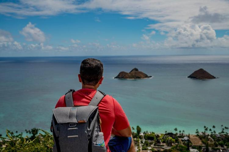 Taking a moment to enjoy the view. Love my new gear bag, Lanikai Pill Box Trail